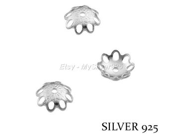 6mm - 2 or 10 flowers bead caps - Silver 925 bead caps