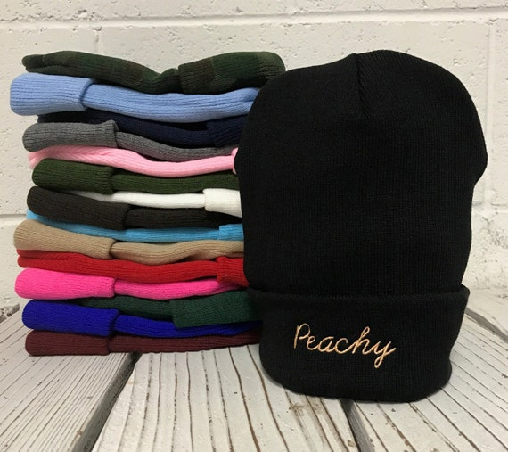 Peachy Embroidered Long Beanie Cuffed Cap - Multiple Colors
