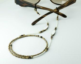 Boho Sunglasses Chain, Beaded Eyeglass Chain, Glasses Chain, White Eyeglass Chain, eyeglass lanyard, sunglasses holder necklace,eyewear