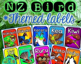 New Zealand Bird themed book box labels