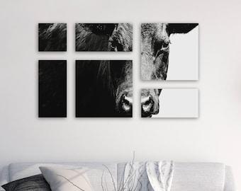 Black Angus Canvas Panel Split Wall Art Collage -Animal Cow Art -Photography Black & White -Farmhouse Home Decor -Cow Print -Large Wall Art