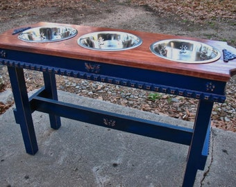 Elevated Feeding Stand, Custom Dog Bowls, Dog Bowl with Stand, 3 Two Quart. Bowls, Large Dogs, Made to Order