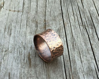 Copper Ring, Hammered Band, Wide Band Ring, Rustic Ring, Minimalist Ring, Copper Jewelry, Hammered Copper, Copper Band, Hammered Ring