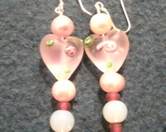 Valentine Pink Lampwork Glass Heart Crystal and Pearl Beaded Dangle Earrings