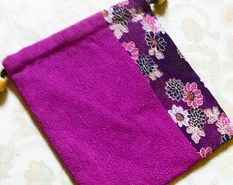 Purple Flowery Drawstring bag / reversible, purple drawstring pouch