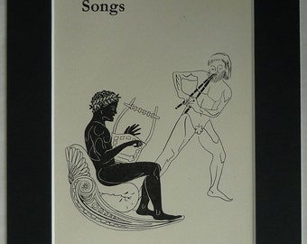 1940s Vintage Print of Naked Ancient Greek Men Playing Musical Instruments Ancient Greece music decor, black and white Vintage musician art