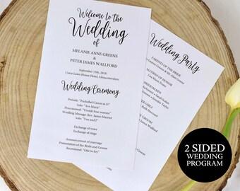 Wedding Program Printable, Rustic Wedding Program, Editable Program, DIY Wedding Program, Program Template, Ceremony Program, MM02-1