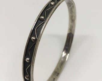 Vintage Sterling Silver Mexican Bangle Bracelet with Dot Chevron Deco Pattern
