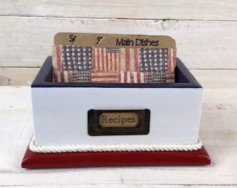 BEAUTIFUL AMERICANA Red White and Blue Recipe Card Box , 6 custom tempered hardboard divider cards