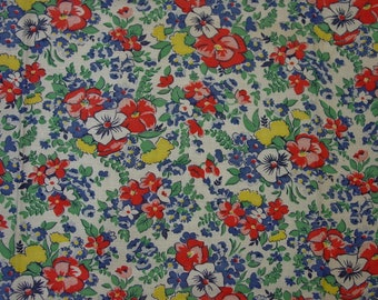 "Vintage Feedsack Fabric Wonderful Floral 21 x 38 1/2"", Perfect"