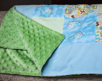 Whales & ABCs Minky and Flannel Baby Blanket | Baby Boy Blanket | Blue and Green Baby Blanket