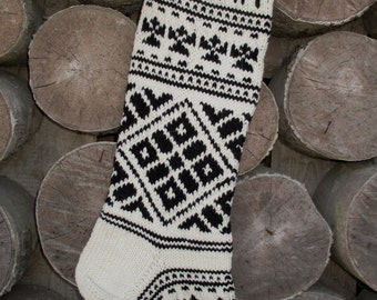 """Knit Christmas Stockings 22-23"""" Personalized Hand knit Wool Black and White Snowflake ornaments Nordic style Christmas decoration"""