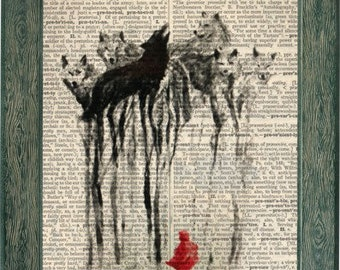 little red riding hood, red riding hood print, wolf art, dictionary art, fairy tale art, fairy tale print, once upon a time, vintage art