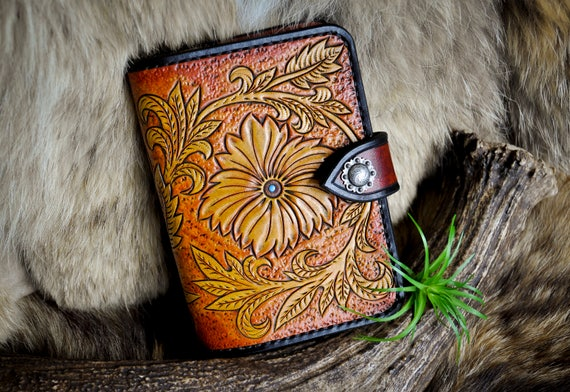 Western Tooled Leather Travel Wallet - Passport and Fieldnotes Cover