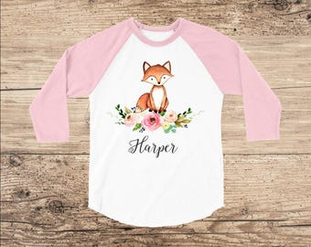 Personalized Shirt with Baby Fox and Flowers