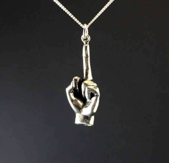 Fuck off pendant jewelry, fuck off charm, fuck you middle finger, hand gesture, up yours sterling silver, rebel jewelry mother's day jewelry