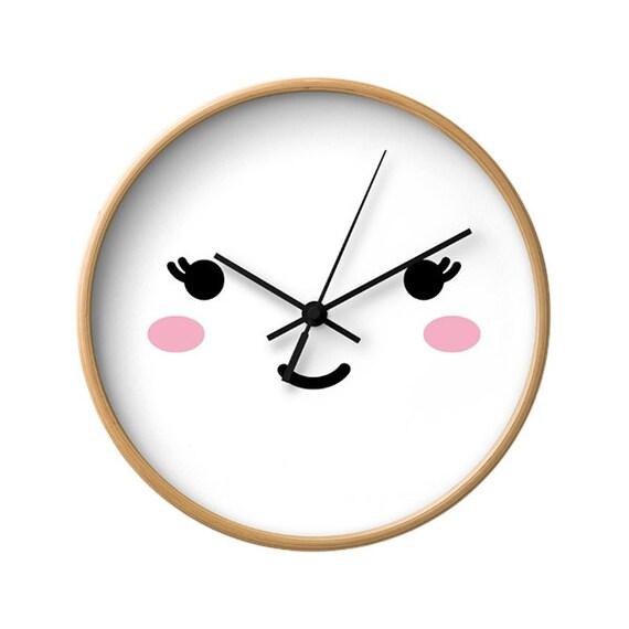 Cute Face Wall Clock, Sleepy Eyes, Nursery Bedroom, Children Decor, Fun  Wall Art, Babies Decorations, Kids Room, Minimal White Illustration