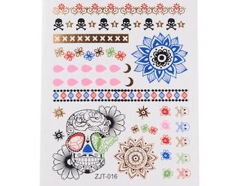 2pc skull flower print temporary tattoo sticker-10578x2