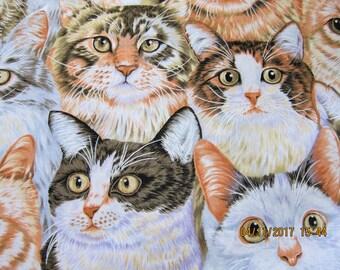 CAT FABRIC Collage Hancock Fabric Very Rare - 1 yard - C4