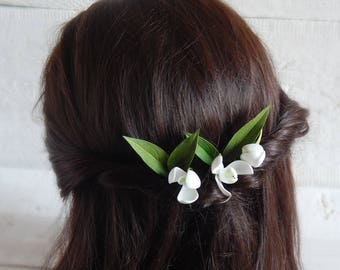 Snowdrop flower hair pins Spring wedding flowers hair Floral hair piece Bridal headpiece Floral hair pins Flower girl gift Spring jewelry