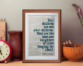 kahlil Gibran quote  - dictionary page art print home decor present gift home decor