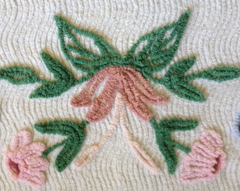 """Plush Vintage Chenille Floral with Pink, Green, Brown and Two-tone Blue on White Bedspread Fabric...27 x 30"""""""