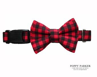 Christmas Buffalo Plaid Dog Layered Bow Tie - Optional Matching Dog Collar and Dog Leash - Shop Small