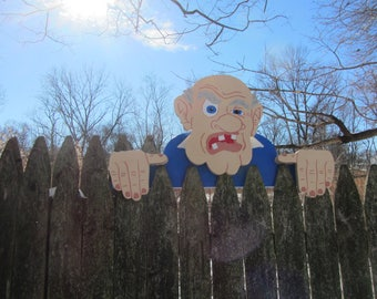 "Handmade custom painted wooden ""Grumpy Old Man"" Fence sitter"
