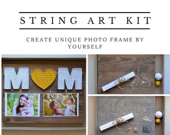 Diy String Art Kit Photo Frame Mom from Daughter Mother Photo Frame String Art Pattern String Art Template Nail and String Art Gift