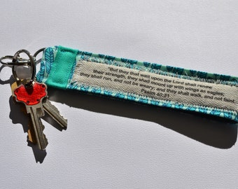 Custom Scripture Fabric Key Fob in Turquoise Feather Fabric, Bible Verse Key chain in Turquoise, Feather Fabric Key chain with hook