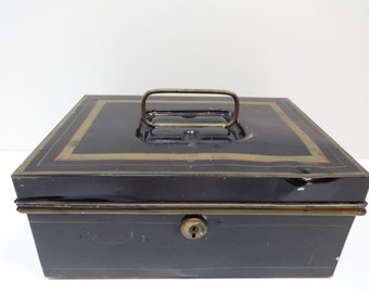 Metal Box, Black Metal Box, Security Box, Black and Gold Box, Black and Gold Metal Box, Black Security Box, Black Metal Security Box,
