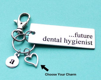 Personalized Dental Key Chain Future Dental Hygienist Stainless Steel Customized with Your Charm & Initial - K775