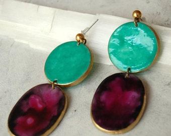 Creative Design, Mint Earrings, Purple Earrings, Porcelain Earrings, Large Statement Earrings, Big Earrings, Stude Large, Gift Ideas