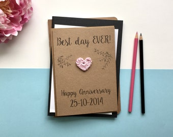 Anniversary card - Best day ever - card for wife - card for husband - wedding anniversary card - brown kraft card