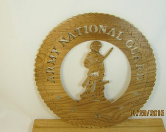 US ARMY NATIONAL Guard  Scroll Saw Plaque