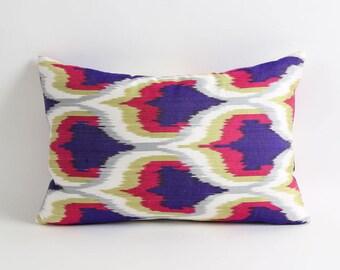 Ikat pillow, handwoven ikat throw pillow cover, 12x18 decorative ikat pillow, accent pillows