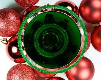 Green cocktail rimming sugar - martini sugar, holiday drink rimmer, Christmas drink garnish, mocktail rim sugar, glitter sugar sparkle sugar