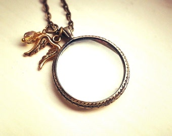 Magnifying glass necklace, Antique bronze monocle pendant, Antique gold angel wing charm
