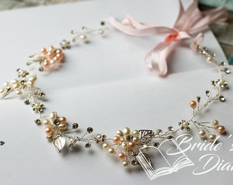 Wedding hair jewelry in silver, pink pearls and crystals bridal wreath, Vintage-Look