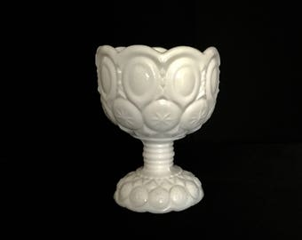 Moon and Stars Milk Glass Pedestal Bowl   GC 2706