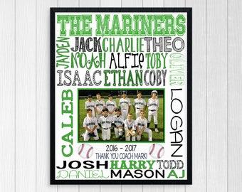 BASEBALL COACHES GIFT ~ Baseball Team Gift ~ Basebal Team Photo ~ Custom Baseball Team ~ Baseball Team Sponsor Gift ~ Printbale Baseball