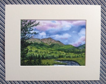 "Appalachian Trail Fine Art Watercolor Print - Mt. Katahdin, Maine - 5x7"" Fine Art Digital Print - Maine Art Print - Watercolor Mountain Art"