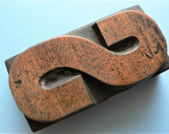 "Letterpress Wood Type S - 3"" Tall 7.5 cm/ Antique Letterpress Wood Printer's Block HAND CARVED"