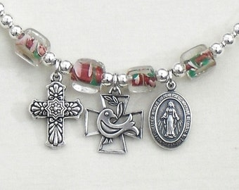 Religious Necklace Cross Holy Spirit Miraculous Medal