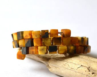 Baltic Amber bracelet, amber jewelry, Unpolished Amber Beaded Bracelet, Silver & Amber Cubes