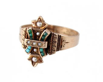 antique victorian turquoise and pearl ring, c. 1890