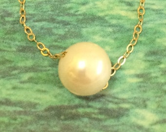 White Pearl Anklet, 14KT Gold Filled Floating Genuine White Round Pearl Ankle Bracelet, N5705A, Made to Order, Made in USA, June Birthstone