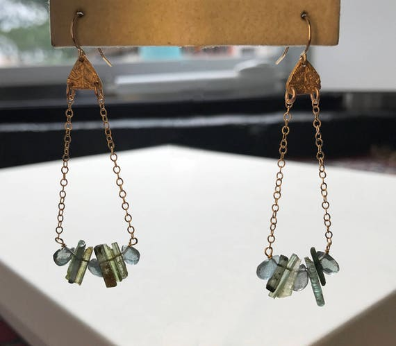 Cascade Earrings in Tourmaline & Moss Aquamarine
