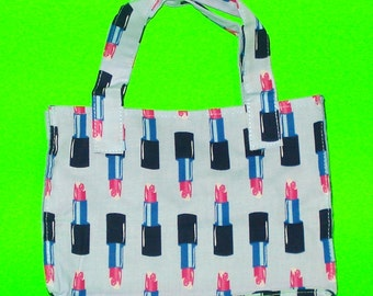 Lipstick on your Collar - Blue and Pink Retro Rockabilly Classic Handbag Printed Purse