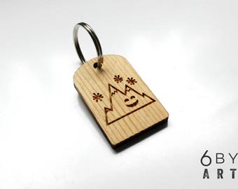 Happy Mountain Wood Keychain | Reclaimed Wood Keychain | Gifts From Home | Gifts For Hikers | Gifts For Outdoor Lovers